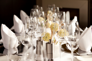 Dining ware at a catering